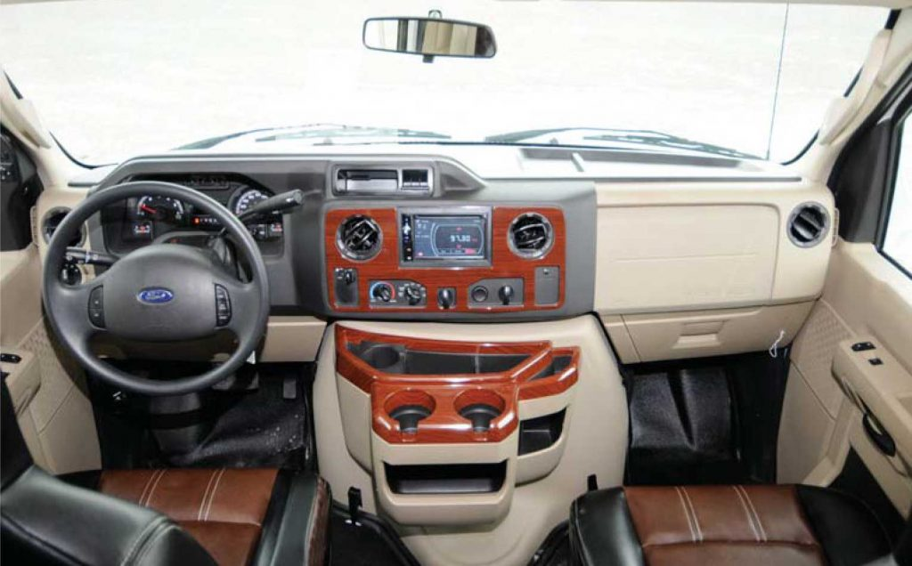 The Ford E450 chassis features all the driving conveniences - automatic transmission, power steering, tilt steering wheel, power brakes, in-dash air conditioning, stereo, GPS, remote control heated exterior mirrors. It is as easy to drive as a family van.