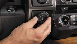 The Pro Trailer Backup Assist knob controls the truck steering to make reverse steering with a trailer more instinctive.