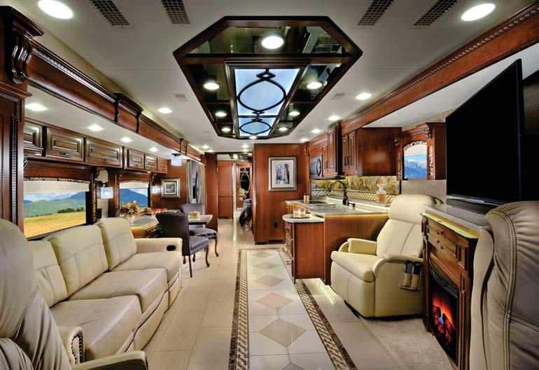 The elegant way to travel is in a top of the line class A motorhome, like this Entegra 45A Cornerstone model. Interior appointments rival luxury penthouses…