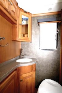 The 32-foot motorhome has a compact but well equipped bathroom.