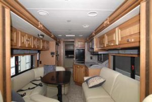 With the slides retracted, I have plenty of room to walk from front to back in this motorhome. This can be a major factor when you choose a floorplan