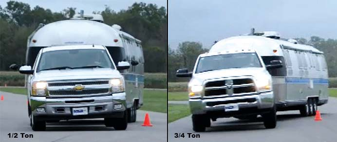 These two trucks in the slalom are both stock. Note that even though the three-quarter ton has much harsher riding springs, the half-ton does not lean any further going around the cones, even though it is actually going faster. The narrow stance and taller centre of gravity simply overpower the stiff springs. Going straight down the road the three-quarter ton feels more controlled - it is just when you try to change direction quickly you notice the difference.
