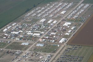 An aerial view of the international plowing match
