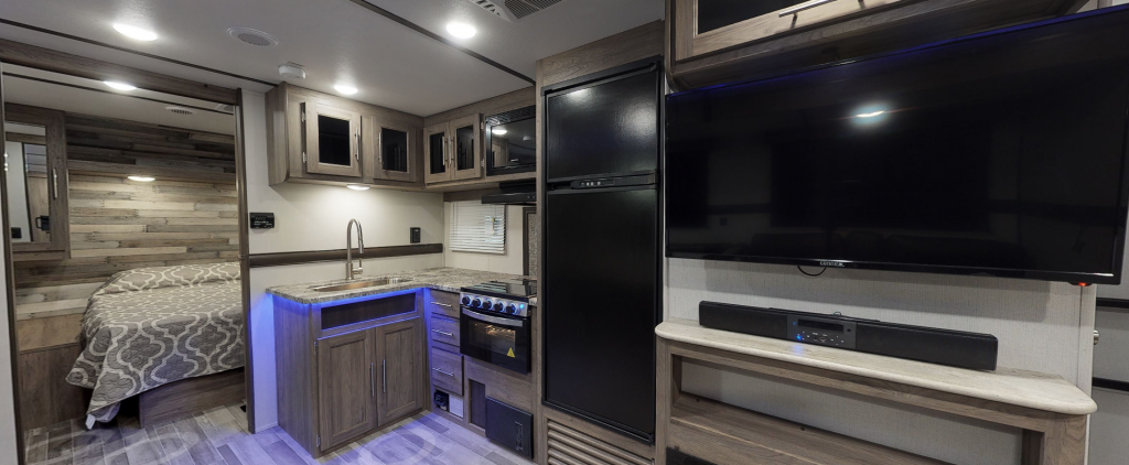 Interior look at Crossroads Zinger featuring modern and sleek look.