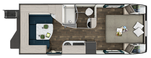 The floorplan for the Lance 2075 travel trailer.