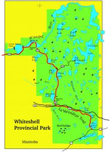 A simple map of whiteshell provincial park in Manitoba