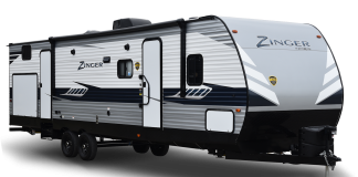 Exterior view of Crossroads Zinger travel trailer.
